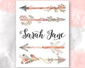 PERSONALIZED Girl's Name PRINTABLE, Watercolor Arrows Nursery Decor, Baby Girl Name Wall Art, First & Middle Name Print, Pretty Plus Paper