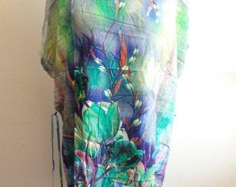 forest green kaftan dress cotton summer holiday beach hospital gown