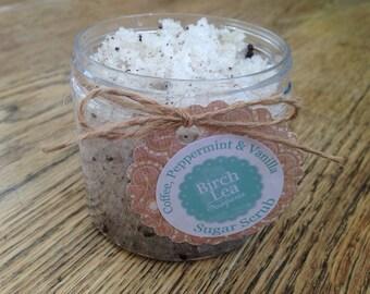 Sugar scrub, Coffee, Peppermint & Vanilla, handmade, exfoliate, moisturise