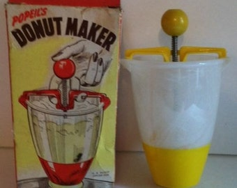 Vintage Popeil's Donut Maker Original Box Rare Yellow & White Plastic