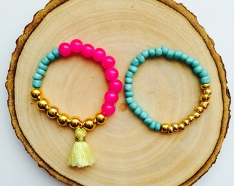 Baby Bracelet, Baby Jewelry, Tassel Bracelet, Baby Shower Gift, Blessing Bracelet, Baby Gift, Baby Bracelet Gold--Pink, Turquoise, Gold