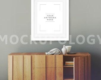 8x10 Vertical White DIGITAL Frame Mockup, Distressed Chest Vintage Room Poster Frame Mockup, Styled Photography Mockup, INSTANT DOWNLOAD