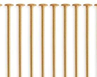 10 Pcs 3 Inch 20ga 14k Gold Filled Head Pins (GF20G30H10)