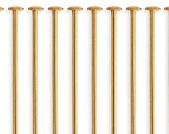 10 Pcs 2 Inch 22ga 14k Gold Filled Head Pin (GF22G20H10)