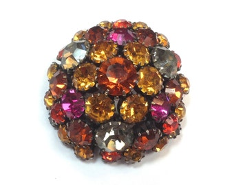 50s Gold Pink Rhinestone Brooch | Autumn Colors Domed Pin | Julianna Style
