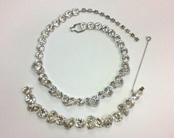 Eisenberg 50s Bracelet Necklace Set | Wedding Jewelry | Large & Pave Rhinestones | Eisenberg