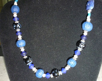 Shades of  Assorted Blue Beaded Necklace