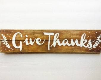 Give thanks wood sign - distressed wood sign