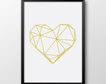 Gold geometric heart, Scandinavian decor, Printable heart, Geometric decor, Modern print 267
