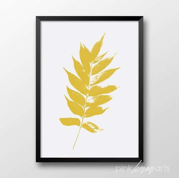 Koi Wall Décor In Gold Leaf : Items similar to mustard color leaf printable wall art