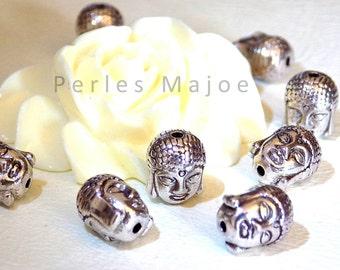 Lot de 10 perles tête de bouddha métal couleur argent antique dimensions 11x9x8 mm