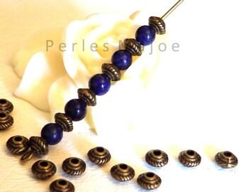 Lot de 20 perles entredoises décorées forme toupie couleur bronze antique 5 x 3 mm