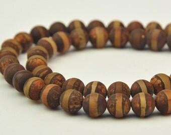 """15"""" Brown Tibetan Agate  Dzi beads  Round Bead 8MM"""