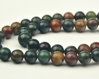 "15"" 8MM Bloodstone Smooth  round Beads"