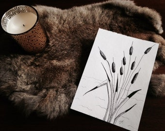 Cattails in the breeze. Comes in 2 sizes, see dimensions. Cattails ,nature, black and white, sketch art, nursery, original artwork.