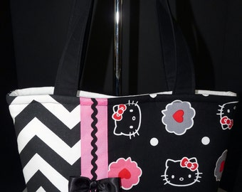 NEW Handmade Hello Kitty Tote Handbag Purse Black & Pink