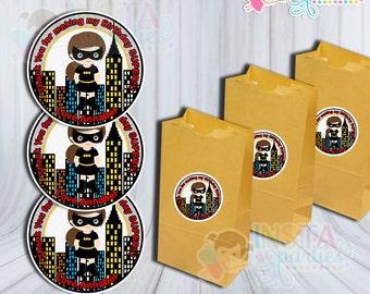 Superhero girl tags / super hero Thank You Tags / batman bat girl party favors birthday party Printable labels superheroes batgirl stickers