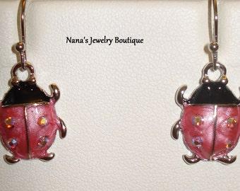 Lady Bug Metal Dangle Earrings