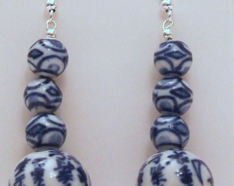 Chinese Blue and White Porcelain Earrings
