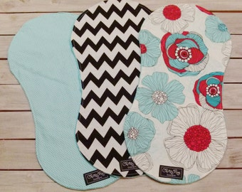 Baby Girl Burp Cloths - Set of 3 - Floral, Aqua Polka Dot & Black Chevron Burp Cloths - Aqua Dimple Dot Minky - Baby Girl Burp Cloth Set