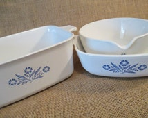 Vintage Corning Ware Blue Cornflower Dishes, P-4-B, P-1-B, P-89-B, Sauce Pan, Casserole Dishes - Set of 3