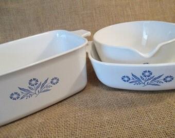 Vintage Corning Ware Blue Cornflower Dishes, P-4-B, P-1-B, P-89-B, Sauce Pan, Casserole Dishes - Set of 3