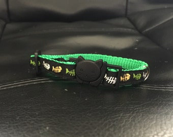 Green Fish Cat Collar