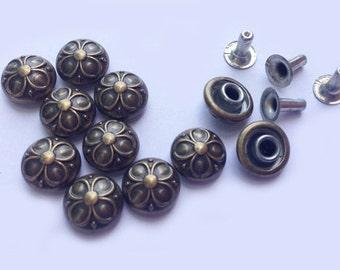 100 Sets - 9 mm Antique Brass Vintage Flower Dome Rivet Studs Button - KK.8