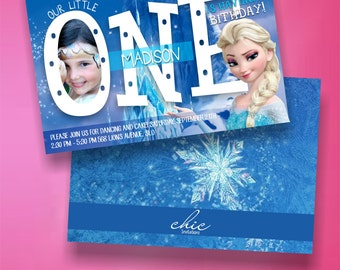 Frozen Invitation First Birthday Girls with Picture