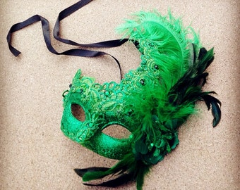 Halloween Masquerade Mask Green Black Lace Feather Encrusted Venetian Style Mask