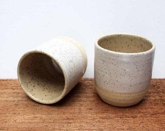 2 HANDMADE White rimmed stoneware ceramic tumblers - Homestead series.