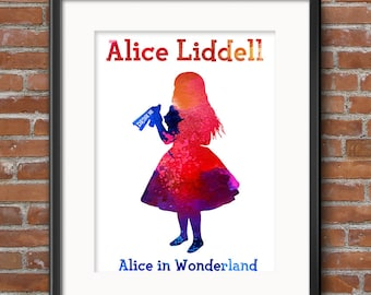 Alice in Wonderland Clipart Alice in Wonderland Watercolor Painting Alice Clip Art Tea Party Clipart - Instant Download Scrapbooking