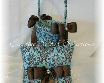 Brown and French Blue Madison Damask Wedding Ring Pillow and Flower Girl Basket