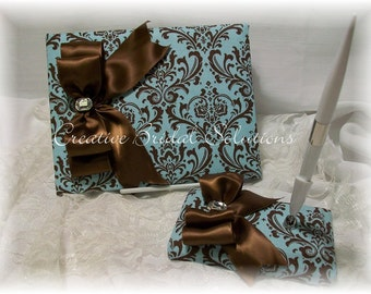 Brown and French Blue Madison Damask Wedding Guest Book and Pen Set