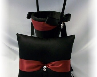 Gothic Wedding Ring Pillow & Flower Girl Basket in Black with Dark Red- The Romona, Goth Wedding