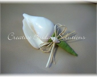 Canarium Seashell Groom Groomsmen Wedding Boutonniere