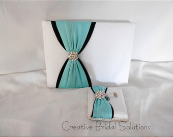 White Black and Blue Wedding Guest Book & Pen Set