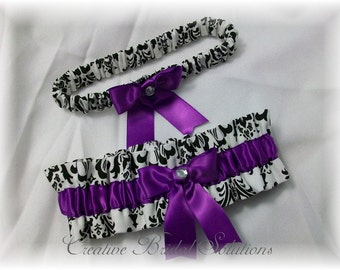 Black and White Madison Damask with Purple Wedding Bridal Garter Set