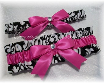 Black and White Damask with Pink Wedding Bridal Garter Set