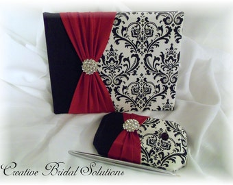 Black and White Madison Damask with Red Wedding Guest Book & Pen Set
