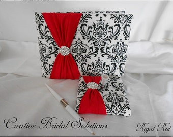 Black and White Madison Damask with Regal Red Wedding Guest Book & Pen Set