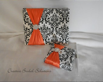 Black and White Madison Damask with Orange Wedding Guest Book & Pen Set