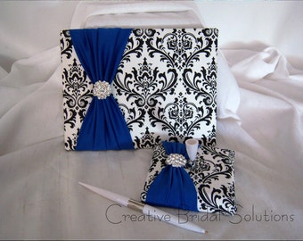 Black and White Madison Damask with Royal Blue Wedding Guest Book & Pen Set, Damask Guest Book, Royal Blue Guest Book, Black Wedding Book