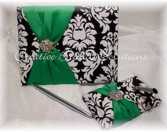 Black and White Damask with Green Wedding Guest Book and Pen Set, Damask Guest Book, Green Guest Book, Black and White Guest Book