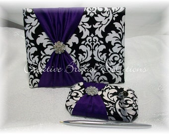 Black and White Damask with Purple Wedding Guest Book and Pen Set, Damask Guest Book, Purple Guest Book, Black and White Guest Book