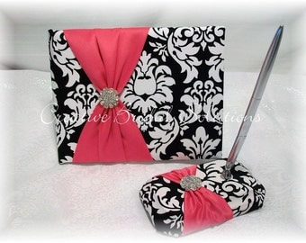 Black and White Damask with Fuchsia Pink Wedding Guest Book and Pen, Damask Guest Book, Pink Guest Book, Hot Pink Guest Book