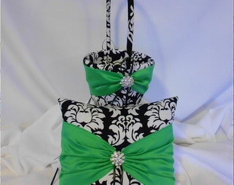 Black and White Damask with Green Wedding Ring Bearer Pillow and Flower Girl Basket
