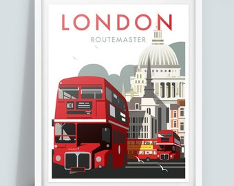 London Routemaster, Travel Poster Print, vintage London poster.