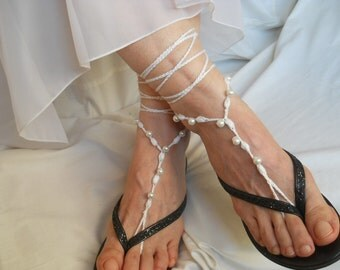 CROCHET BAREFOOT SANDALS / Summer Sandles Shoes Beads Victorian Anklet Foot Women Wedding Sexy Accessories Bridal Elegant Beach Wear White