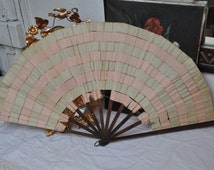 Victorian Antique 1800's French Silk Fan, Large Antique Hand Fan, Ribbons Vintage Ladies, 18th Century Fan, Paris Boudoir Decor, France